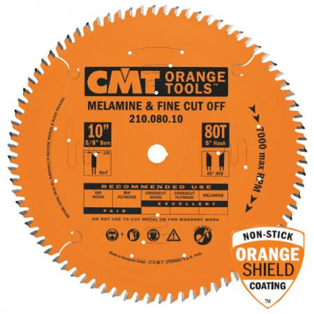 "CMT 10"" 80T Melamine & Fine Finish Saw Blade 5/8"" Bore Industrial Teflon Coated"
