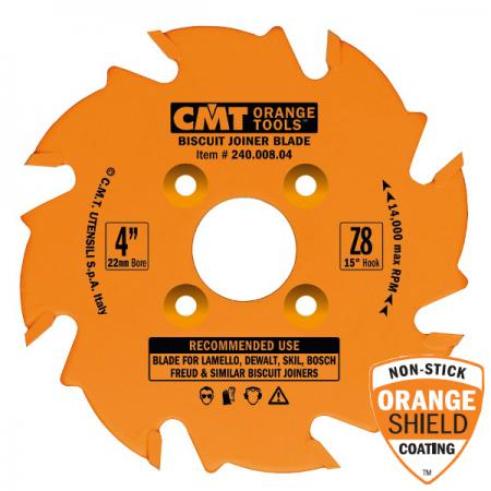 "CMT 4"" x 8T Biscuit Joiner Blade FTG Tooth Geometry for Virtuex/Porter Cable"