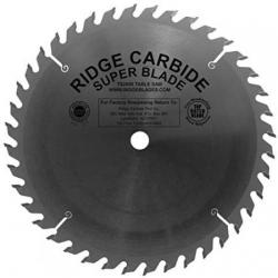 "Ridge Carbide TS2000 10"" 40T Full Kerf Box Joint Blade with Flat Bottom Grind"